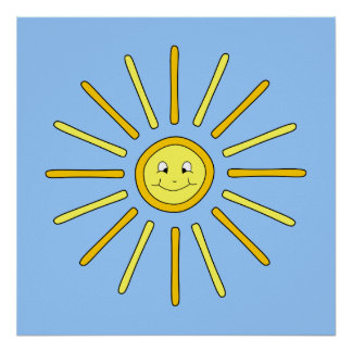 Happy Summer Sun. Yellow and Blue. Posters