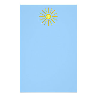 Happy Summer Sun. Yellow and Blue. Custom Stationery