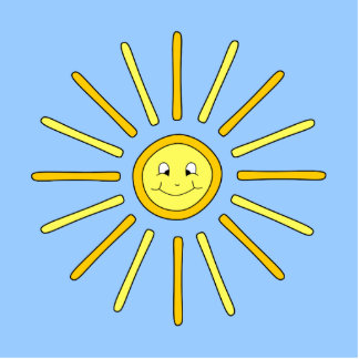 Happy Summer Sun. Yellow and Blue. Statuette