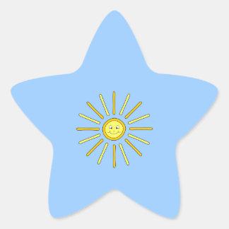 Happy Summer Sun. Yellow and Blue. Star Sticker