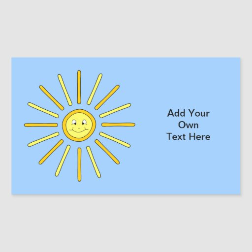 Happy Summer Sun. Yellow and Blue. Rectangle Sticker