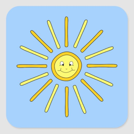 Happy Summer Sun. Yellow and Blue. Stickers