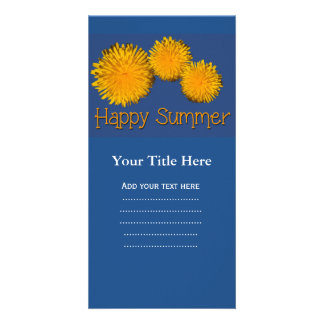 Happy summer yellow wild daisy flowers. card
