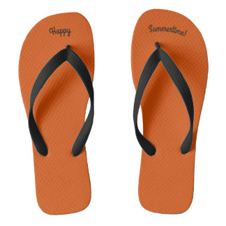 Happy Summertime Solid Orange W Wide Black Strap Flip Flops