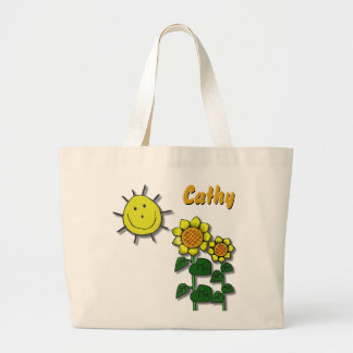 Happy Sun and Sunflowers Tote Bags