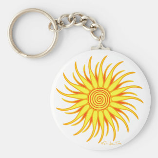 Happy Sun Basic Round Button Keychain