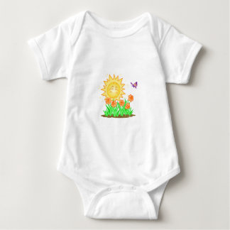 Happy Sun Daffodils and Butterfly Baby Bodysuit