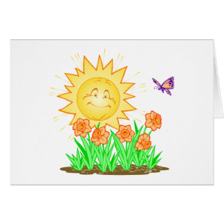 Happy Sun Daffodils and Butterfly Greeting Card