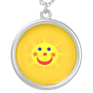 Happy Sun Face Round Pendant Necklace