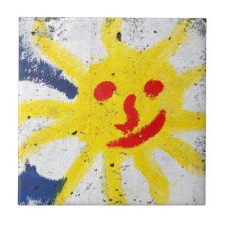 Happy Sun face smiling Ceramic Tile