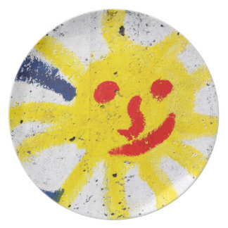 Happy Sun face smiling Melamine Plate