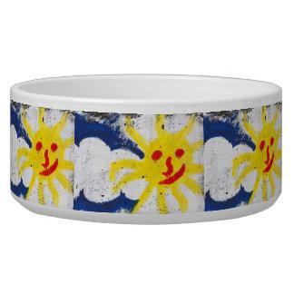 Happy Sun face smiling Pet Water Bowl