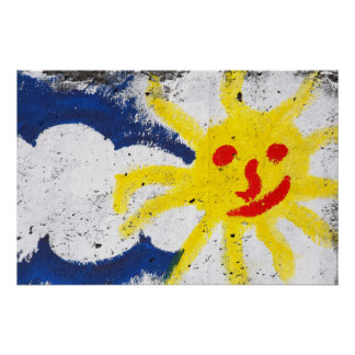 Happy Sun face smiling Poster