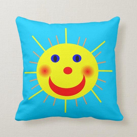 Happy Sun Face Throw Pillow