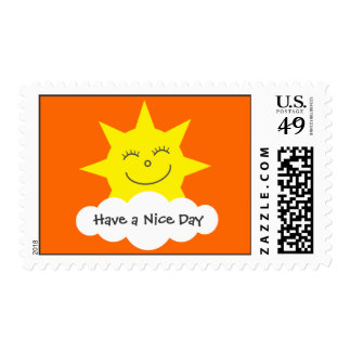 Happy Sun Have a Nice Day Orange Stamps