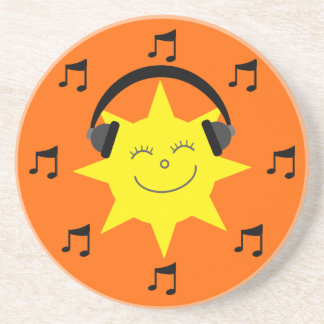 Happy Sun, Headphones & Musical Notes Orange Coaster