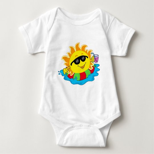 Happy Sun in the Pool Baby Bodysuit