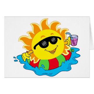 Happy Sun in the Pool Card