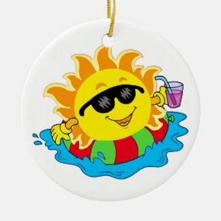 Happy Sun in the Pool Ceramic Ornament