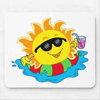 Happy Sun in the Pool Mousepad