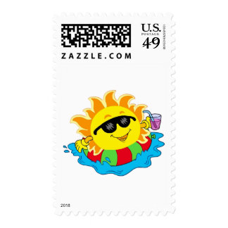 Happy Sun in the Pool Stamps