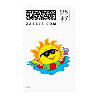 Happy Sun in the Pool Postage Stamp
