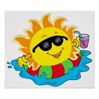 Happy Sun in the Pool Poster