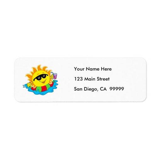 Happy Sun in the Pool Return Address Label