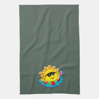 Happy Sun, Inner Tube, Pool on Dk Green Towels