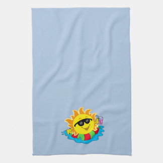 Happy Sun, Inner Tube, Pool on Lt Blue Kitchen Towels