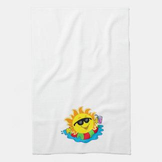 Happy Sun, Inner Tube, Pool on White Hand Towel