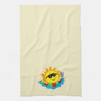 Happy Sun, Inner Tube, Pool on Yellow Towel