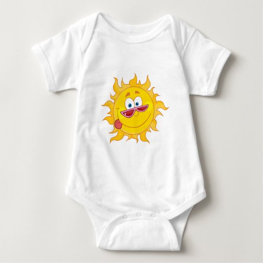 Happy Sun Mascot Cartoon Character With Shades Baby Bodysuit