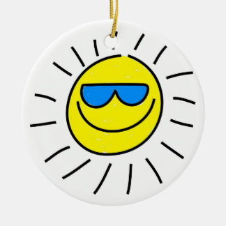 Happy Sun Double-Sided Ceramic Round Christmas Ornament
