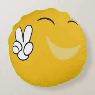 Happy Sun Peace Sign Round Pillow