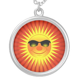 Happy Sun Round Pendant Necklace