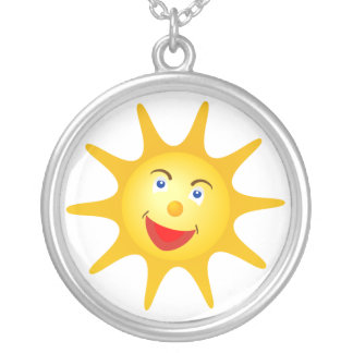 Happy sun silver plated necklace
