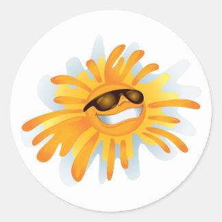 Happy Sun Wearing Shades Classic Round Sticker