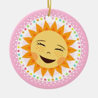 Happy sun with colourful polka dot border ceramic ornament