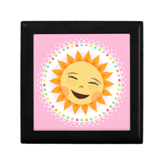Happy sun with colourful polka dot border trinket box