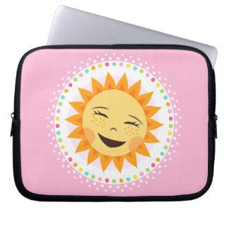 Happy sun with colourful polka dot border computer sleeve