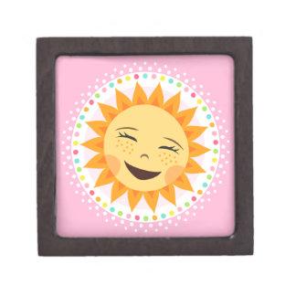 Happy sun with colourful polka dot border premium jewelry boxes
