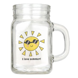 Happy Sun with Sunglasses Personalized Mason Jar