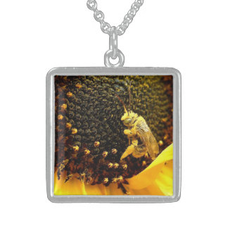 Happy Sunflower Bee Sterling Silver Necklace