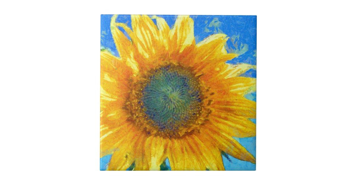 Happy Sunflower Ceramic Tile Zazzle