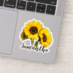 "Happy Sunflower Name Sticker<br><div class=""desc"">Message me if you need assistance or have any special requests.</div>"