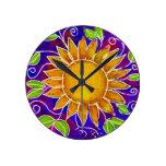 Happy Sunflower Round Wallclock