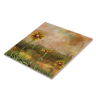 Happy Sunflowers Tile