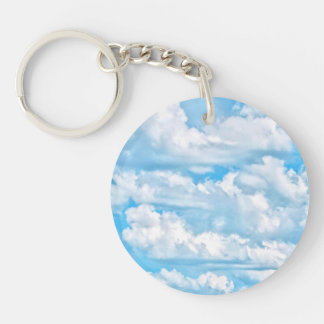 Happy Sunny Clouds Blue Background Double-Sided Round Acrylic Keychain