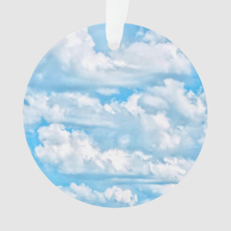 Happy Sunny Clouds Blue Background Ornament